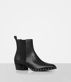 Crafted from super-smooth cow leather, these Chelsea boots are given extra attitude with a row of silver-tone studs trimming the welt. The block heel is a comfortable height, making these the perfect pair for day-to-night styling. Almond shaped toe.Silver-tone metal studs around welt.Elasticated side panels.Mid block heel.Leather pull loop.Leather lining and sole. SIZE & FITSlim fit.Heel height: 5cm. See our size guide for more details.  Upper, lining and sole: 100% cow leather.