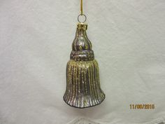 Glass Ornament Tassel Silver with Gold Glitter, Christmas Holiday Ornament by PorcelainChinaArt on Etsy