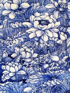 antique Japanese floral pattern porcelain tile