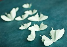 Mint Green Butterfly Silhouettes