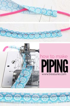 Step by step tutorial on how to make piping for sewing including cutting formula. It is hard to find nice piping in the shops so make your own piping. Sewing Basics, Sewing For Beginners, Sewing Hacks, Sewing Tutorials, Sewing Projects, Sewing Tips, Sewing Ideas, Sewing Patterns, Apron Patterns