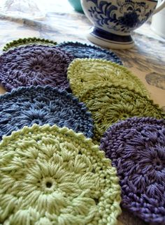 Crochet Interesting Round Motif Coasters Hotpads