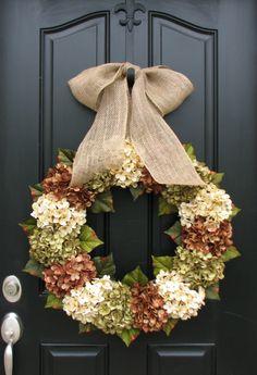 XL+Fall+Wreaths+Hydrangea+Wreaths+for+Fall+Burlap+by+twoinspireyou,+$140.00