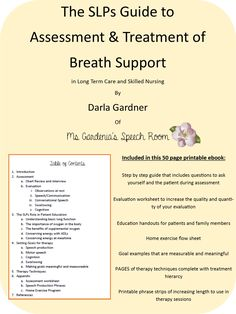 Ms Gardenia's Speech Room: When Communication, Cognition And Swallowing Are Affected By Decreased Breath Support