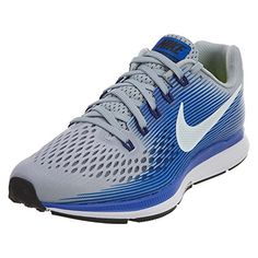 9fc1df4b7018 NIKE Mens Air Zoom Pegasus 34 Wide 2E Running Shoe Wolf GreyWhiteRacer Blue  130   More