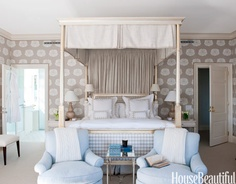 Symmetrical bedroom. Design: Kirsten Fitzgibbons. Photo: James Merrell. #bedroom #pattern #lamps #canopybed