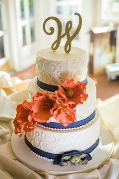 Navy and coral wedding cake with Yoda from Star Wars | Captured by Elle Photography, Orlando |