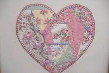 I'd like to stitch a heart like this made from my mom's clothes or a blanket inside my wedding dress, next to my heart. A little piece of her right next to me.