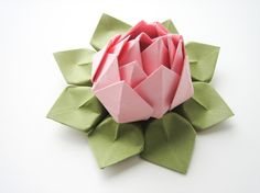 Handmade Origami Lotus Flower - Blossom Pink and Moss Green - Table Decoration, Hostess Gift, Baby Shower, Party Favor. $6.95, via Etsy.