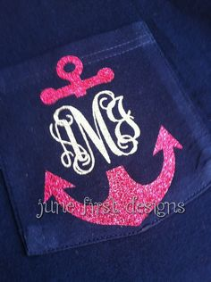 Monogram Pocket  Anchor Glitter Tee TShirt by JuneFirstDesigns, $20.00