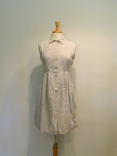 Vintage Natural Linen Sleeveless Mini Shirt Dress by tobedetermined