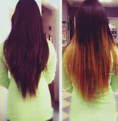 Ombre hair: before and after