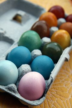 Vibrant Easter Eggs, dyed naturally. Thought this would also be a good teaching tool for history...how textiles were dyed long ago. Maybe even try to dye different materials like cotton fabric, yarn, etc with the the natural dyes (science).