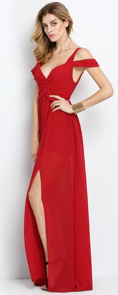 Wine Red Off The Shoulder Maxi Dress, Perfect for Going out Parties!!