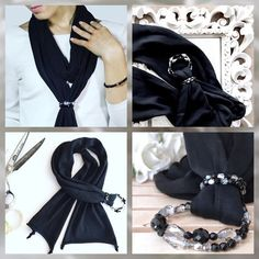 70s Fashion, French Fashion, Girl Fashion, Fashion Tips, Vintage Fashion, Diy Scarf, Scarf Jewelry, How To Wear Scarves, Bijoux Diy