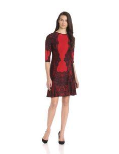 Gabby Skye Women's 3/4 Sleeve Mirror Print Flare Dress, Red/Black, 10 Gabby Skye,http://www.amazon.com/dp/B00EETDJ9M/ref=cm_sw_r_pi_dp_wJ-Esb02ZP0Y2EFP