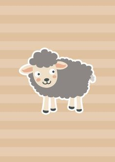 Items similar to Lamb on Tan - Kids Animal Illustration Print - Cute Childrens Nursery Wall Art - Baby Shower Gift - Girl or Boy or Neutral on Etsy Cute Owls Wallpaper, Phone Wallpaper Images, Baby Wall Art, Nursery Wall Art, Eid Crafts, Ramadan Gifts, Wall Drawing, Diy Gift Box, Flower Graphic