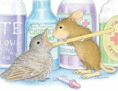 House Mouse checking the sore throat of his bird friend.
