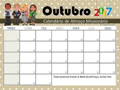 Meninas,  Com um pouco de atraso, mas finalmente saiu o calendário de almoço dos missionários de 2017:                                     ...