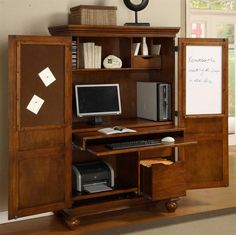 Computer Armoire w Pull-Out Drawer in Cherry Finish