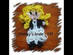 Rainbow Loom CHUCKY'S BRIDE figure. Designed and loomed by Tash Webber at Loomie World. Click photo for YouTube tutorial. 07/07/14.