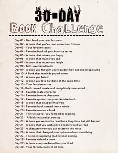 This is a 30 day book challenge! Try it out! Paste to FB, Blog it or write it out by hand!