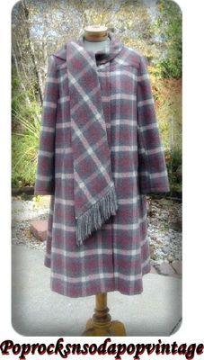 SALE Vintage 60s Swing Wool Plaid Coat Bromleigh w Scarf Rockabilly