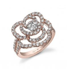 Style #FR178C    This 18K rose gold diamond fashion ring features 1.61 carats of round brilliant diamonds.