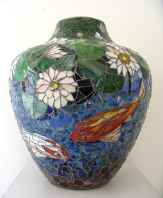MOSAIC VASE - stained glass mosaic koi fish pond - sale pending