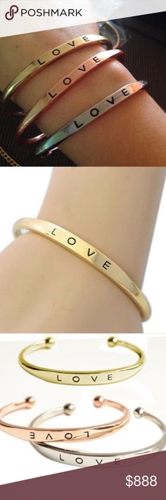 Gold  LOVE Bangle Bracelet These adorable LOVE Bangle bracelets are the perfect accessories for any outfit. Made of Zinc Alloy. Please see the last photo of the bangle as there is some slight flaws. Jewelry Bracelets
