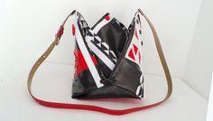sac origami, à bandoulière, graphique, en simili cuir noir, blanche et rouge…