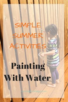 Simple outdoor activity for kids - painting with water. Water play brings so much joy for kids and to moms when something like this kids activity that is simple to set up. Click to find out more.
