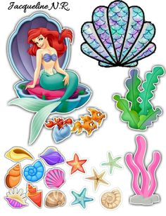 Little Mermaid Cake Topper, Little Mermaid Birthday, Little Mermaid Parties, The Little Mermaid, Cupcake Toppers Free, Homemade Stickers, Animal Templates, Diy And Crafts, Paper Crafts
