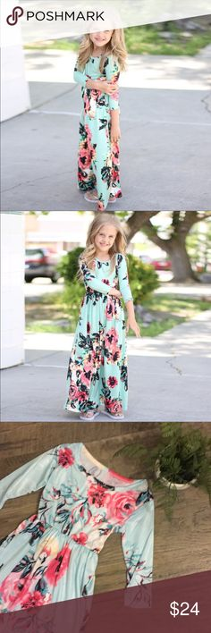NEW Girls Boutique Modest Floral Maxi Dress NEW Girls Boutique Modest Floral Maxi Dress. Pretty Blue/Green color. This item is brand new direct from the manufacturer. (Did not come with tags) was sized as a 2-3 but runs large and would best fit around a 4-5 in my opinion. Super cute! Soft stretchy material. Has some spandex in it. Great for all seasons! Pair with a scarf and boots for fall/winter and your favorite sandals for spring/summer! Great piece for your little ladies closet! Smoke…