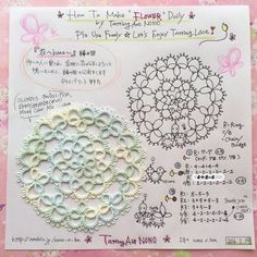タティングレースのミニドイリー「花」編み図♪ の画像|野乃のきまぐれHANDMADE生活♪