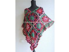 PATR1081  Xyra Crochet-pattern  Poncho with flowers /
