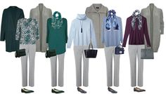 A wardrobe staple - grey trousers - 5 outfits for the cool coloured woman. Grey will go with all other cool colors.