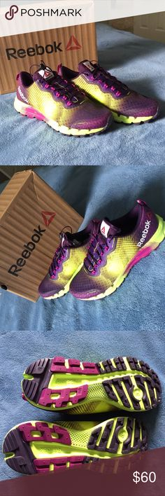 Women REEBOK ALL TERRAIN THUNDER 2.0 USA 9 Running Bringing terraintested features to the obstacles at home, this seamfree runner makes momentum number one. Sprint web, speed tread, and a 7mm drop help you cut across the pavement like a warrior on the hunt. -Fabric, Synthetic -Rubber sole -All-terrain runner featuring striped ghillie webbing and sleek multicolor scheme -Terrain skin with DirtShield at laces -Lock and Load bungee lacing -Quick-drying H2ODrain ports at toe box -C48 cushioning…