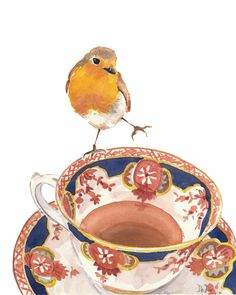 Teacup Watercolour PRINT - Robin Watercolor, Watercolour Painting, Bird Illustration Print, 8x10 Print, Waterinmypaint.  Etsy