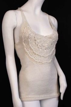 A knit tank top with crochet details from Galliano