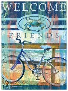 Welcome Friends Bike & Crab Artwork