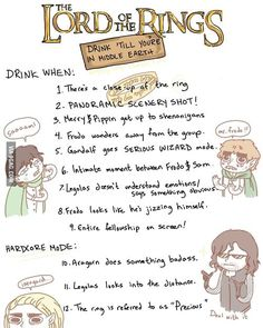 The LOTR Drinking Game--ha ha, this is funny