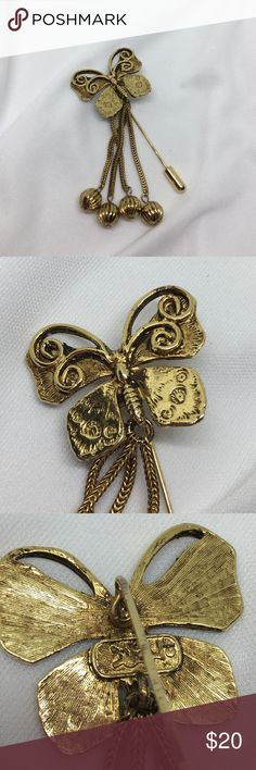"""🆕Vintage Dramatic Gold Butterfly Stick Pin An about 2 1/2"""" butterfly Stickpin, with gorgeous detail and 4 dangling pendants. In an antique gold finish. Marked on the reverse as shown. I can't identify the marking, but this is the most Ornate Stickpin I've had in my collection. In excellent vintage condition. If you love Stickpins, you must adore this one! Vintage Jewelry Brooches"""