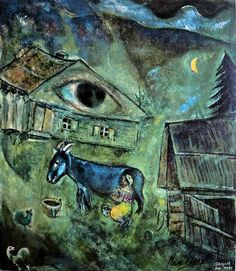 """russian-avantgarde-art: """" The House with the Green Eye, Marc Chagall Size: cm Medium: oil on canvas"""" Marc Chagall, Artist Chagall, Pablo Picasso, Art Sur Toile, Jewish Art, French Artists, Famous Artists, Oeuvre D'art, Les Oeuvres"""