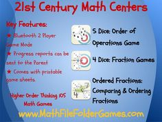 http://www.mathfilefoldergames.com/my-math-apps/ The Future of Centers in the Math Classroom!! Aimed at upper elementary and middle school students the #iOS #apps focus on key areas of learning. We focus on a number of key areas of mathematics including: Order of operations (PEMDAS, BEDMAS), #fractions, ordered fractions, and ordered pairs. They are designed to replace drill style exercises, with fun games, which involve students in the learning of #mathematics. #mathapps