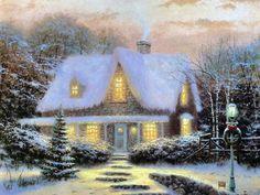 thomas-kinkade-christmas-eve-wallpaper - snow, christmas, holiday, painting, art, thomas kinkade