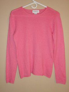 $29.95 Womens Bloomingdales 100% Cashmere Pink Crew Neck Long Sleeve Sweater Size: S