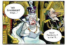 Morten Morland cartoon - The Queen's speech announcing government plans