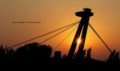 UFO bridge in city Bratislava, Slovakia Bratislava Slovakia, Urban Photography, Ufo, Bridge, City, City Photography, Bridges, Cities, Bro