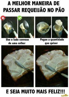Como passar requeijão no pão